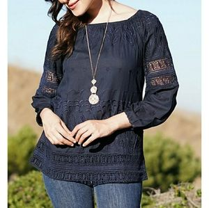 Navy Floral Embroidered Lace Boho Top